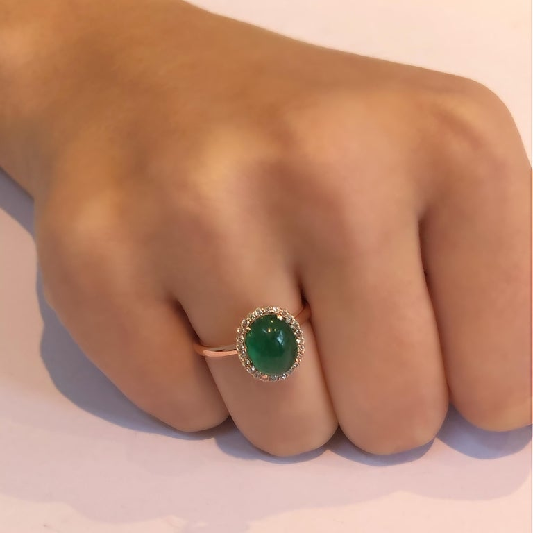 Cabochon Emerald and Diamond Rose Gold Fashion Cocktail Ring For Sale 1