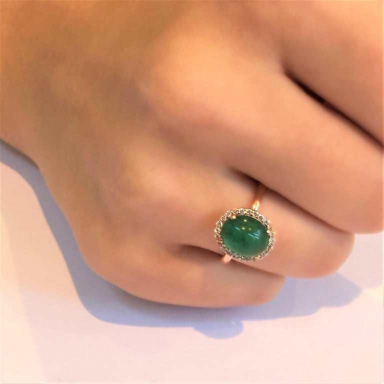 Contemporary Cabochon Emerald and Diamond Rose Gold Fashion Cocktail Ring For Sale