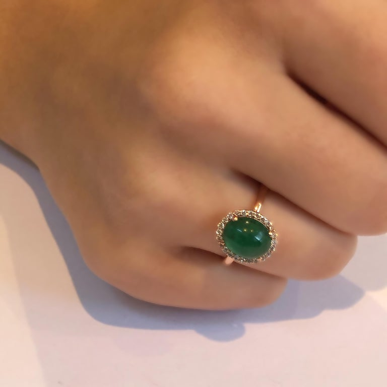 Cabochon Emerald and Diamond Rose Gold Fashion Cocktail Ring For Sale 2