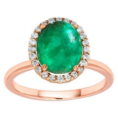 Cabochon Emerald and Diamond Rose Gold Fashion Cocktail Ring