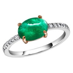 Cabochon Emerald and Diamond White Gold Cocktail Cluster Ring