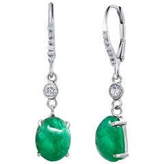 Cabochon Emerald and Diamond White Gold Hoop Drop Earrings