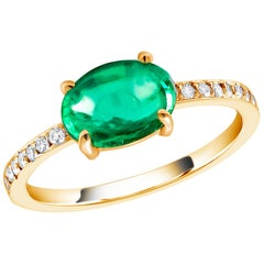 Cabochon Emerald and Diamond Yellow Gold Cocktail Cluster Ring