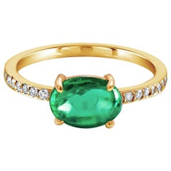 Cabochon Emerald and Diamond Yellow Gold Cocktail Ring Weighing 2.14 Carat