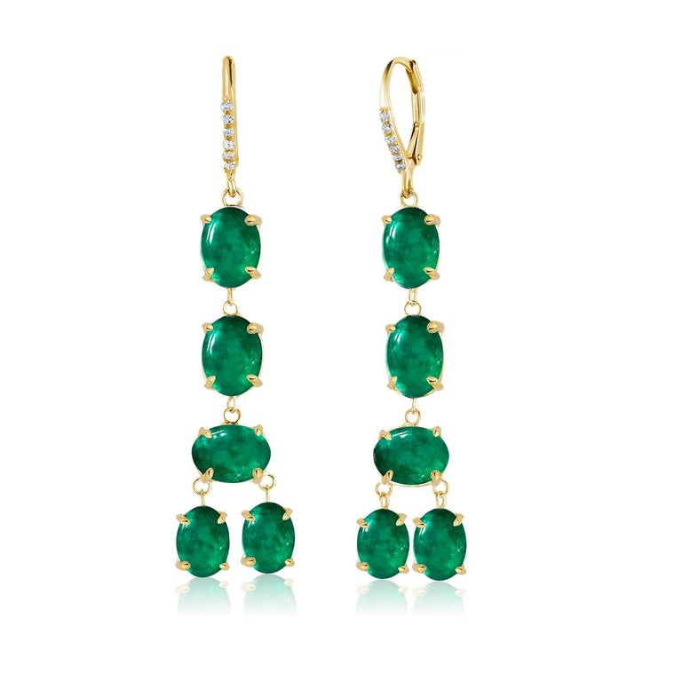 Oval Cut Cabochon Emerald and Diamond Yellow Gold Drop Hoop Earrings For Sale