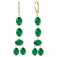 Cabochon Emerald and Diamond Yellow Gold Drop Hoop Earrings