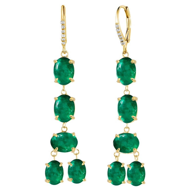 Cabochon Emerald and Diamond Yellow Gold Drop Hoop Earrings For Sale