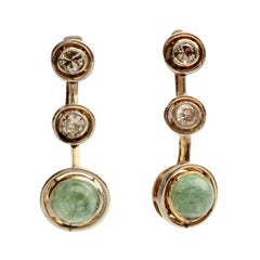 Cabochon Emerald and Diamonds Antique Drop Earrings
