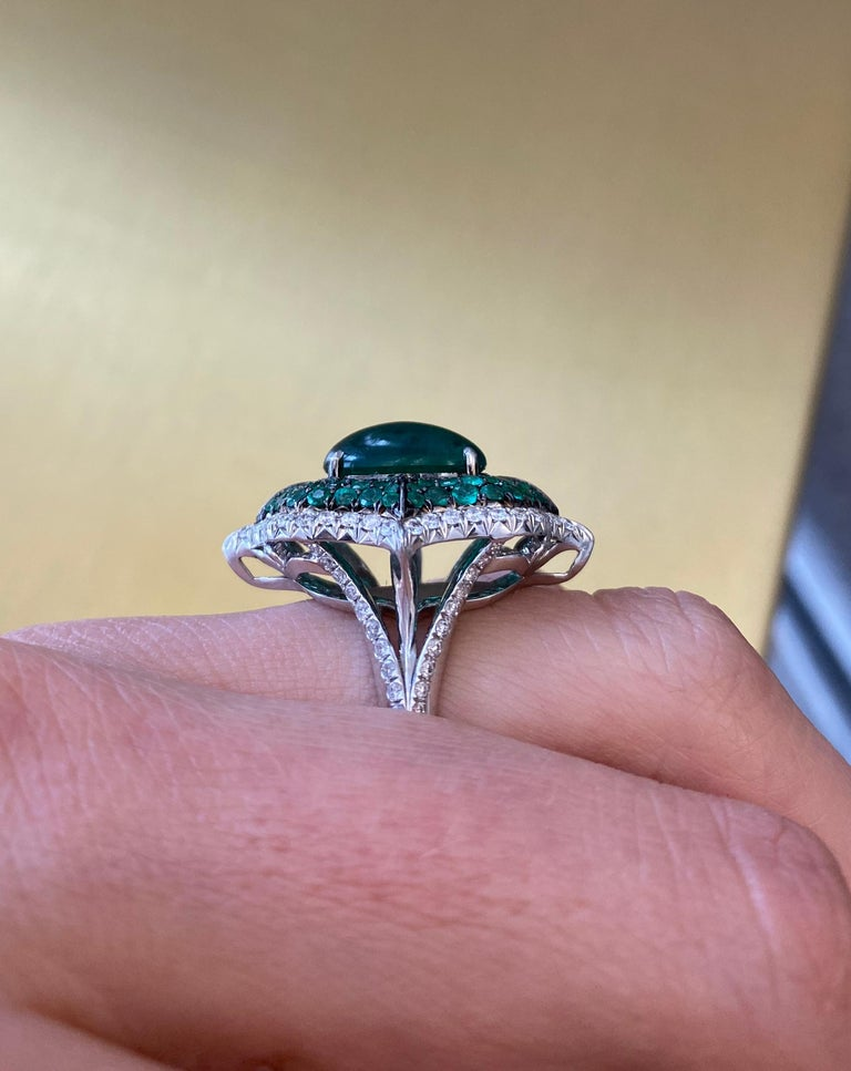 Women's or Men's Cabochon Emerald and Pave Diamond Cocktail Ring For Sale