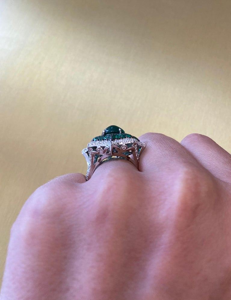 Cabochon Emerald and Pave Diamond Cocktail Ring For Sale 1