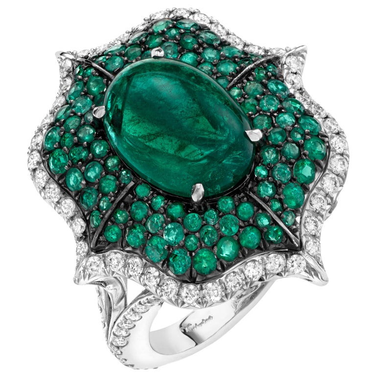 Cabochon Emerald and Pave Diamond Cocktail Ring For Sale