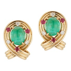 Cabochon Emerald and Ruby Earrings by Van Cleef & Arpels