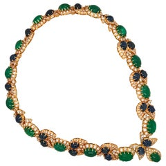 Cabochon Emerald and Sapphire Necklace