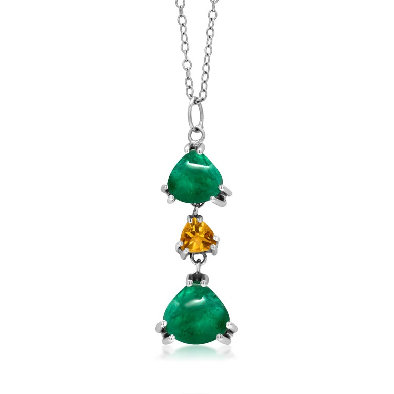 Contemporary OGI Triangle Shape Cabochon Emerald Yellow Sapphire White Gold Drop Necklace  For Sale