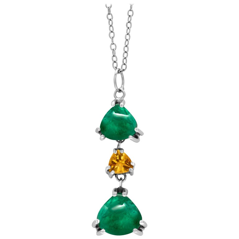 OGI Triangle Shape Cabochon Emerald Yellow Sapphire White Gold Drop Necklace  For Sale