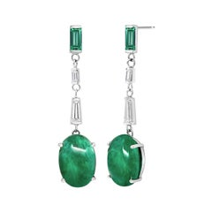 Cabochon Emerald Baguette Diamond Emerald Gold  Earrings Weighing 15.02 Carat