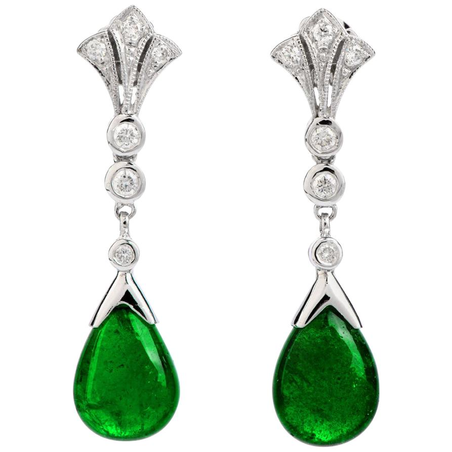 Cabochon Emerald Diamond 18 Karat White Gold Drop Dangle Earrings