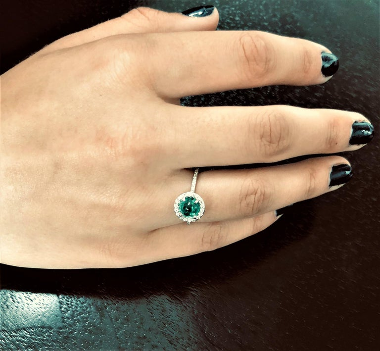 Contemporary Cabochon Emerald Diamond Cluster Cocktail Ring Weighing 1.45 Carat For Sale