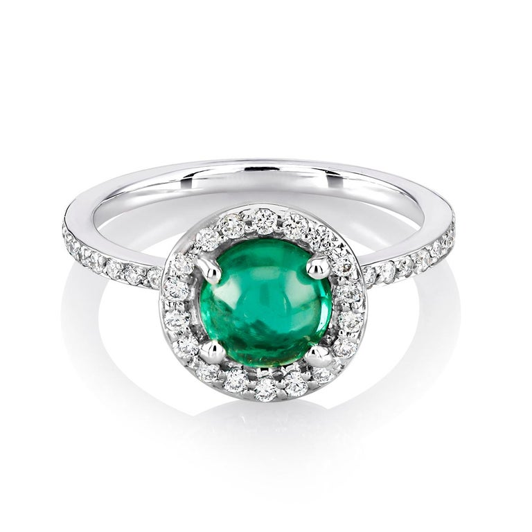 Cabochon Emerald Diamond Cluster Cocktail Ring Weighing 1.45 Carat For Sale 1