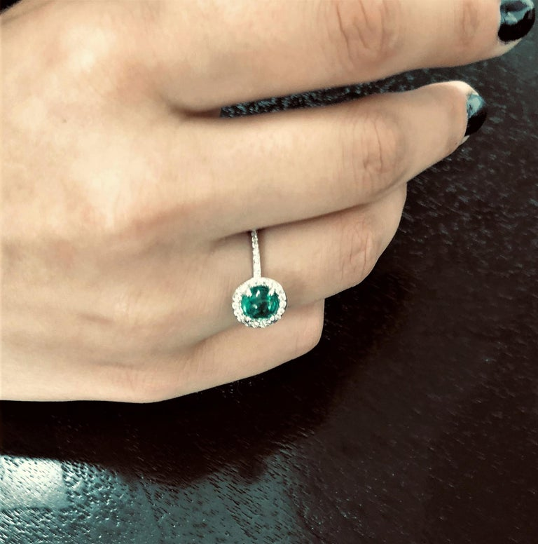 Women's Cabochon Emerald Diamond Cluster Cocktail Ring Weighing 1.45 Carat For Sale
