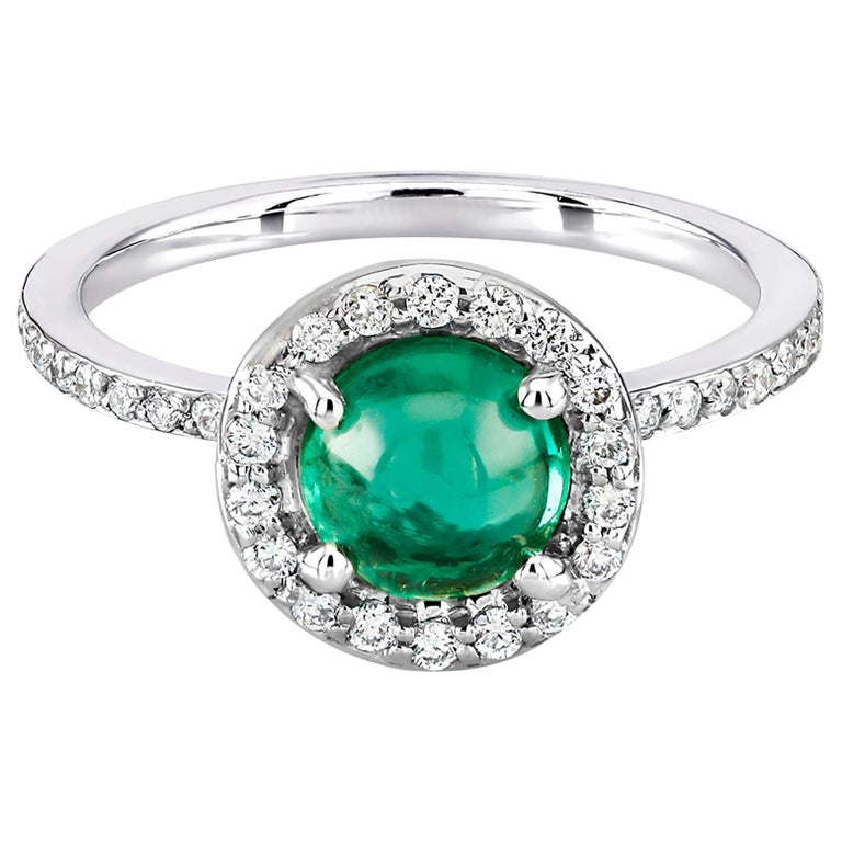 Cabochon Emerald Diamond Cluster Cocktail Ring Weighing 1.45 Carat For Sale