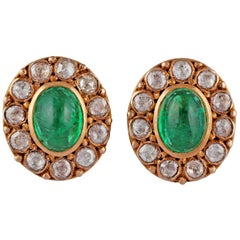 Cabochon Emerald and Diamond Earring Studded in 18 Karat Yellow Gold