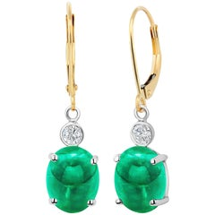 Cabochon Emerald Diamond Gold Hoop Earrings Weighing 5.26 Carat