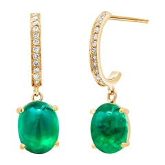 Cabochon Emerald Diamond Gold Hoop Earrings Weighing 4.48 Carat
