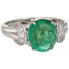 Cabochon Emerald Diamond Ring Vintage Platinum Gemstone Engagement Jewelry