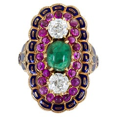 Cabochon Emerald Diamond Ruby Enamel Cocktail Ring