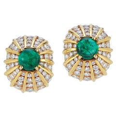 Cabochon Emerald & Diamond Yellow Gold Earrings