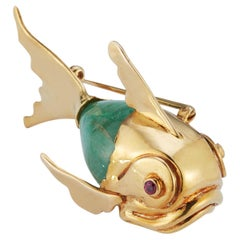 Cabochon Emerald Fish Brooch Pendant