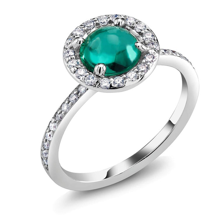 Round Cut Cabochon Emerald Diamond Cluster Cocktail Ring Weighing 1.45 Carat For Sale