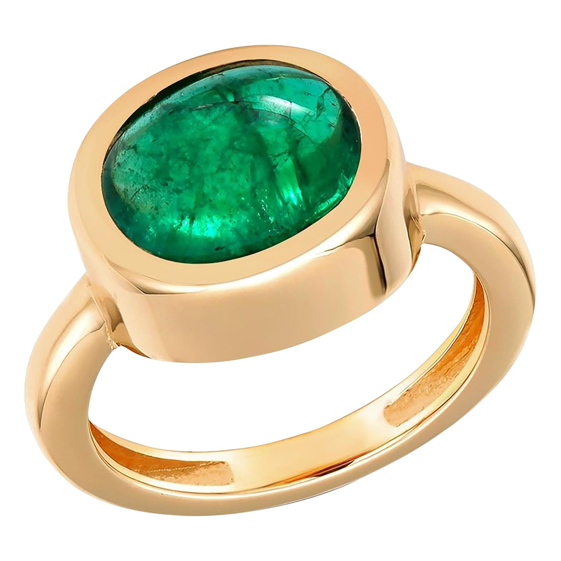 Cabochon Emerald High Dome Yellow Gold Cocktail Solitaire Ring