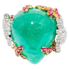 Cabochon Emerald, Round Diamond, Ruby, Sea Horse Ring 18 Karat 2-Tone