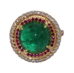 Cabochon Emerald, Ruby and Diamond Cocktail Ring