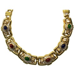 Cabochon Emerald, Ruby and Sapphire Necklace in 18 Karat Yellow Gold