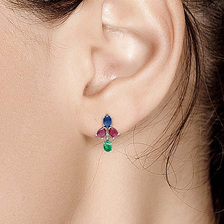 OGI Cabochon Emerald Sapphire Ruby Diamond White Gold Cluster Earrings For Sale 1