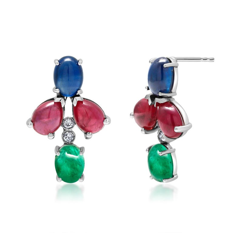 Oval Cut OGI Cabochon Emerald Sapphire Ruby Diamond White Gold Cluster Earrings For Sale