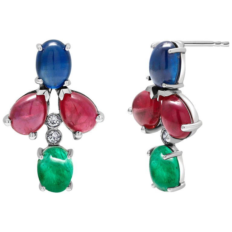 OGI Cabochon Emerald Sapphire Ruby Diamond White Gold Cluster Earrings For Sale