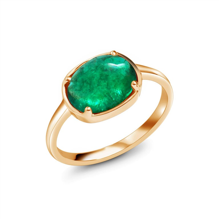 Oval Cut Cabochon Emerald Solitaire Rose Gold Ring Weighing 2.40 Carats For Sale