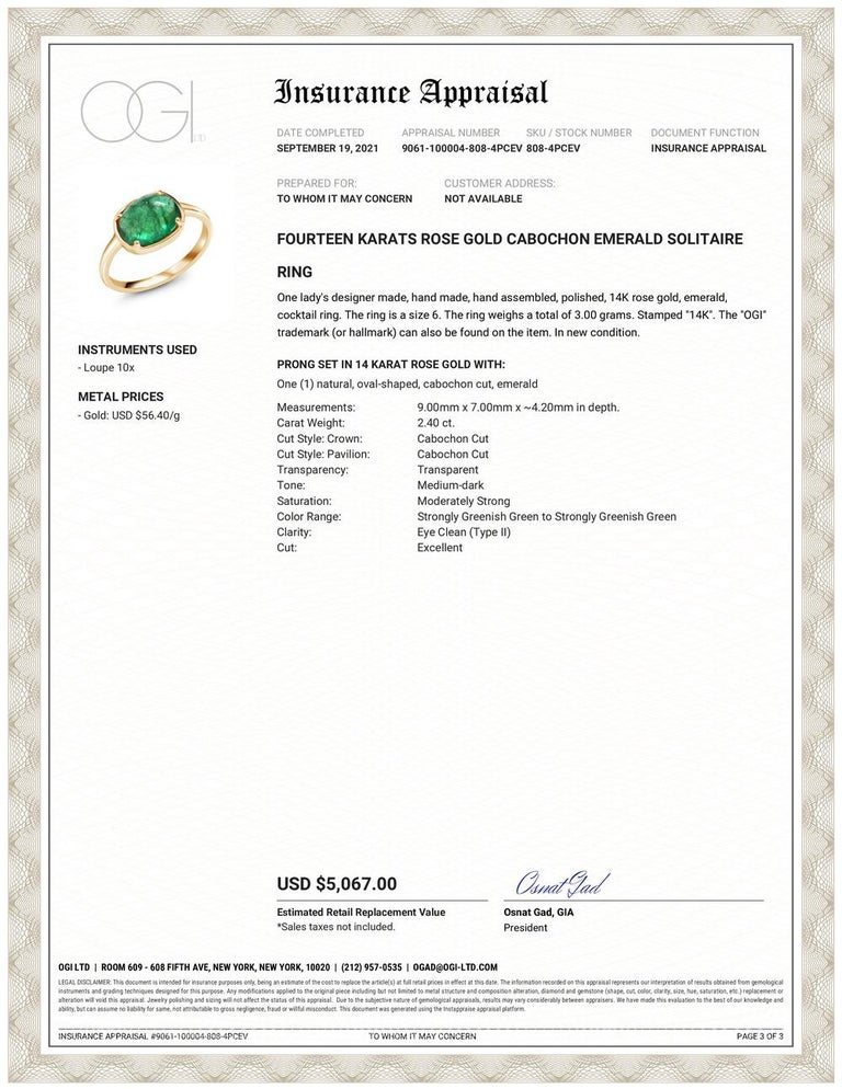 Fourteen Karats rose gold cabochon emerald ring  Cabochon emerald weighing 2.40 carat        Emerald hue tone color is grass green                                                      Ring Size 6  The ring shank is 2 millimeter  The ring can
