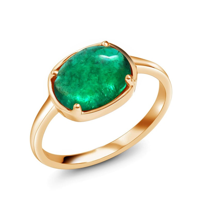Women's Cabochon Emerald Solitaire Rose Gold Ring Weighing 2.40 Carats For Sale