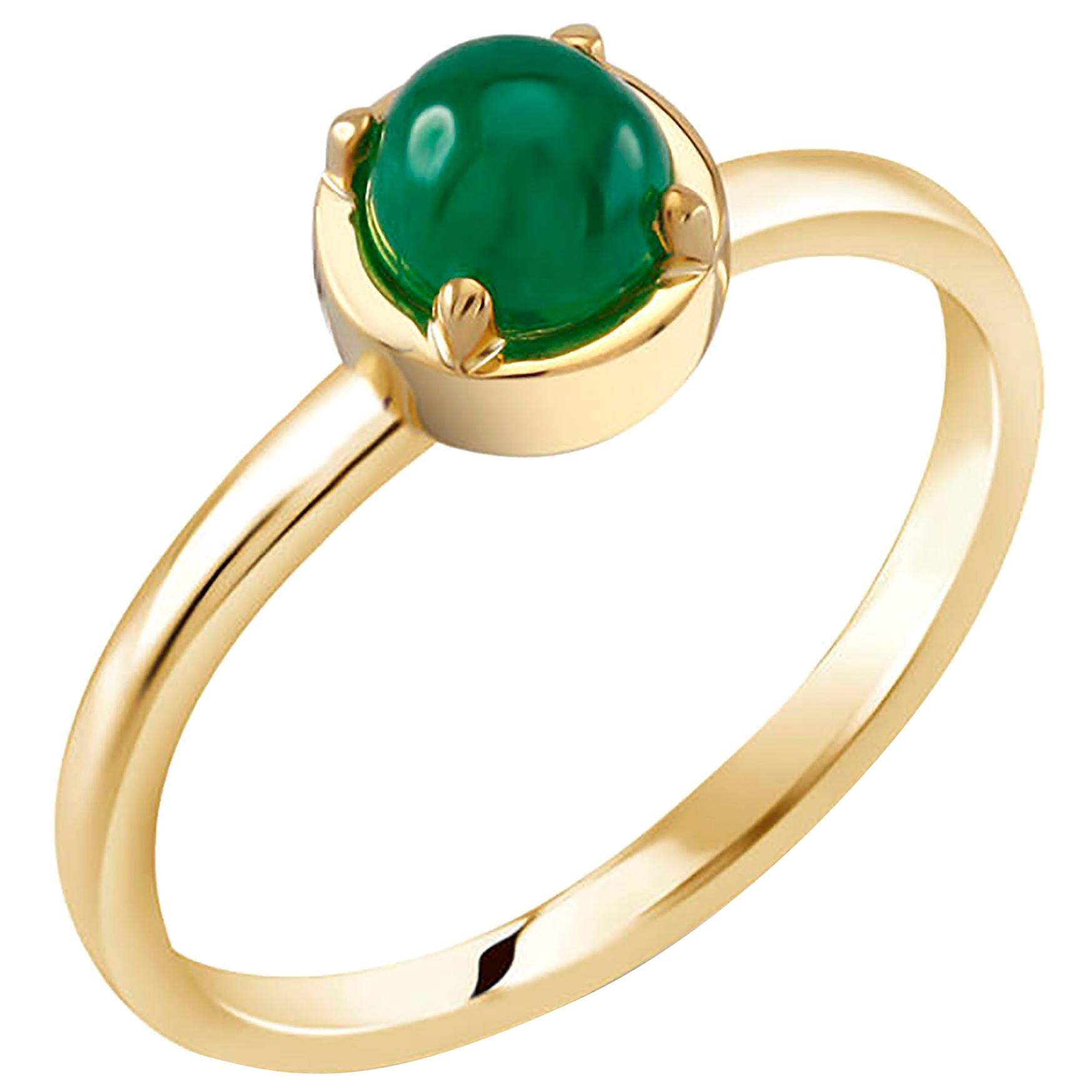 Cabochon Emerald Solitaire Sterling Silver Ring Yellow Gold-Plated