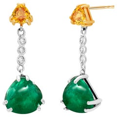 Cabochon Emerald Yellow Sapphire Diamond Gold Earrings Weighing 5.81 Carat