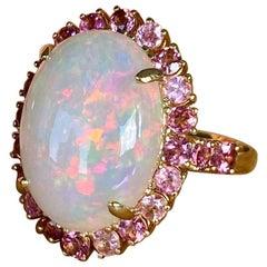 Joon Han Cabochon Ethiopian Opal Pink Tourmaline 18 Karat Gold Cocktail Ring