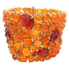 Cabochon Fire Opal and Diamond Statement Bracelet