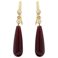 Cabochon Garnet and Diamond 18 Carat Gold Drop Earrings