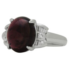 Cabochon Garnet and Diamond Set Platinum Ring