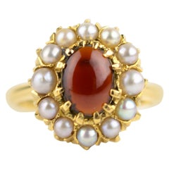Cabochon Garnet Seed Pearl Cluster Ring, circa 1890